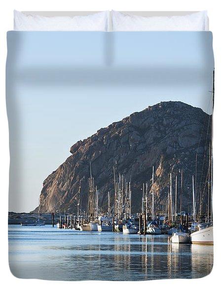 Sailboats In Morro Bay Duvet Cover