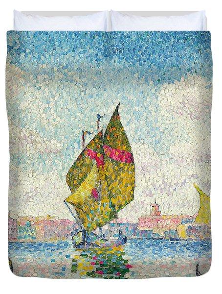 Sailboats On Giudecca Or Venice, Marine Duvet Cover