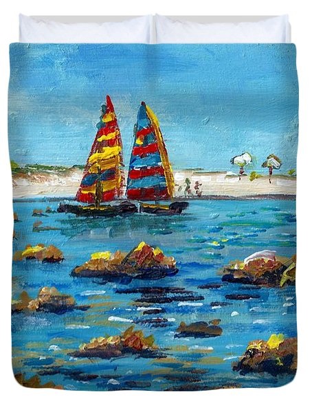 Sailboats On Siesta Key Duvet Cover