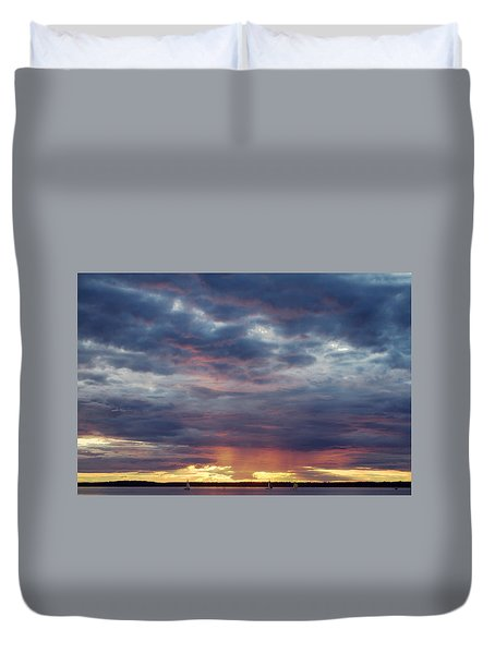 Sailboats On The Bay Duvet Cover