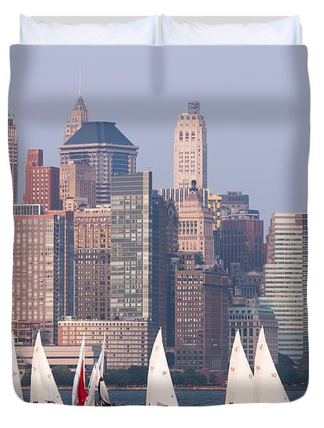 Sailboats On The Hudson II Duvet Cover by Clarence Holmes