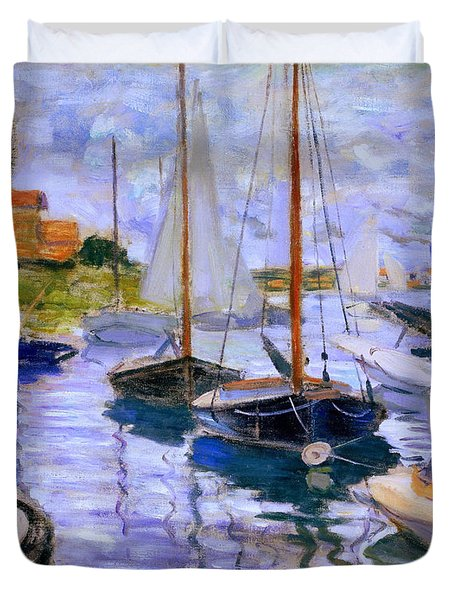 Sailboats On The Seine At Petit Gennevilliers Claude Monet 1874 Duvet Cover