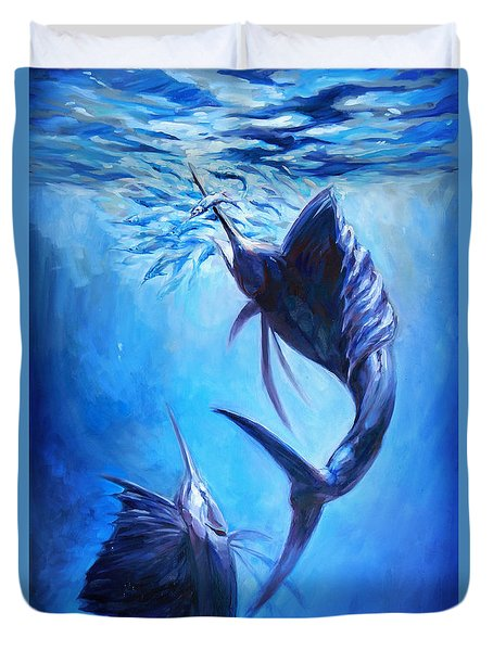 Sailfish And Ballyhoo Duvet Cover by Tom Dauria