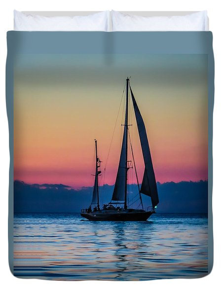 Sailing After Sunset Duvet Cover