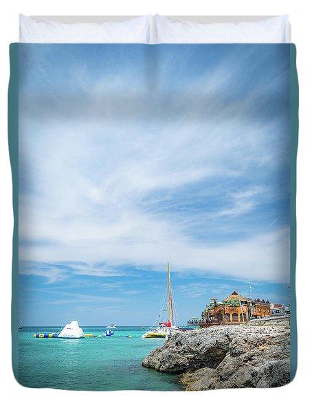Coastline Sailing In Montego Bay Duvet Cover