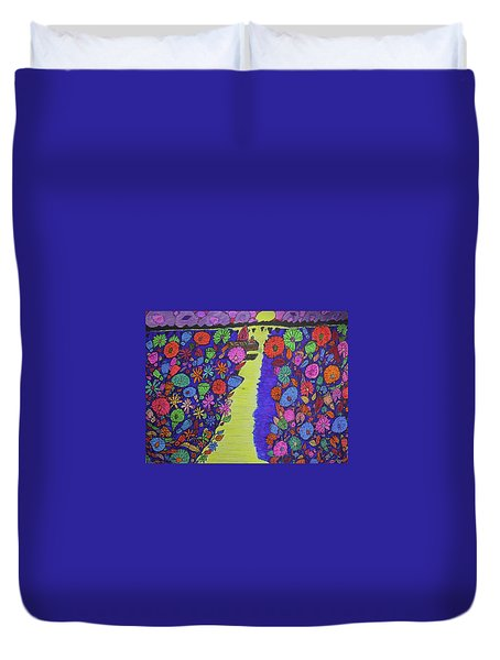 Sailing Along The Menominee Bay Shore. Duvet Cover