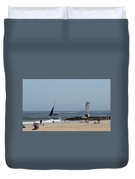Duvet Cover featuring the photograph Sailing Around The Inlet Jetty by Robert Banach