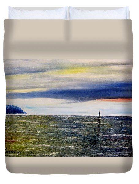 Sailing At Dusk Duvet Cover by Marilyn  McNish