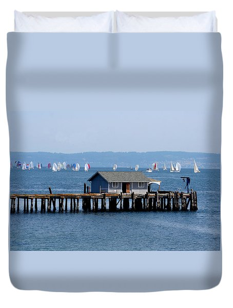 Sailing At Penn Cove Duvet Cover by Mary Gaines