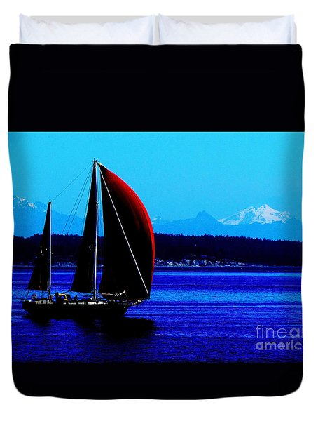 Sailing At Port Townsend Washington State Duvet Cover
