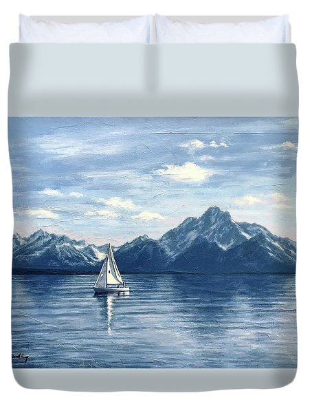 Sailing At The Grand Tetons Duvet Cover