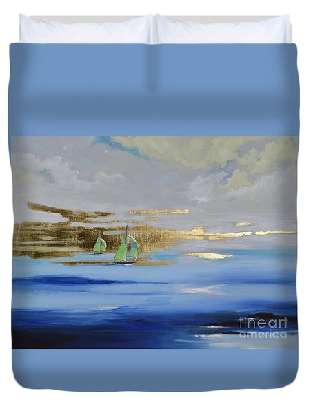 Duvet Cover featuring the painting Sailing Away by Mary Scott