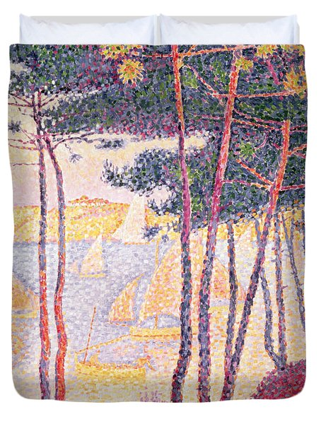Sailing Boats And Pine Trees Duvet Cover by Paul Signac