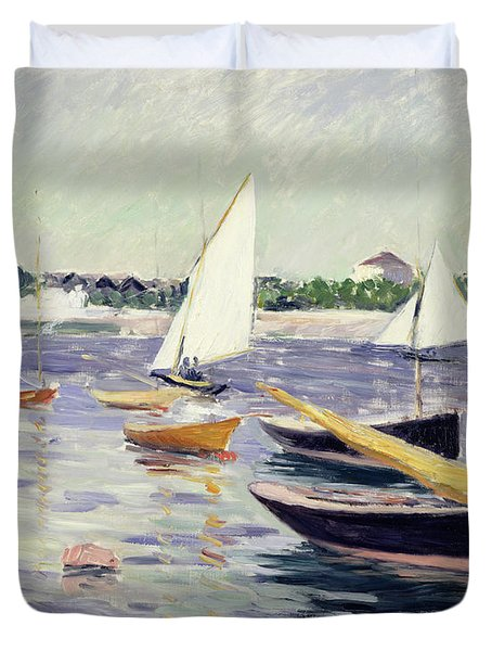 Sailing Boats At Argenteuil Duvet Cover by Gustave Caillebotte