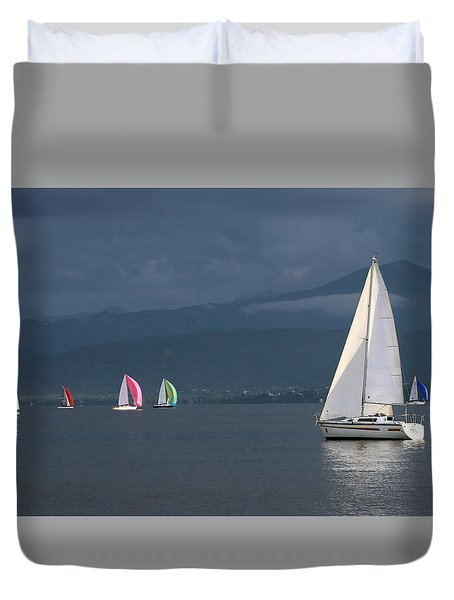 Sailing Boats By Stormy Weather, Geneva Lake, Switzerland Duvet Cover