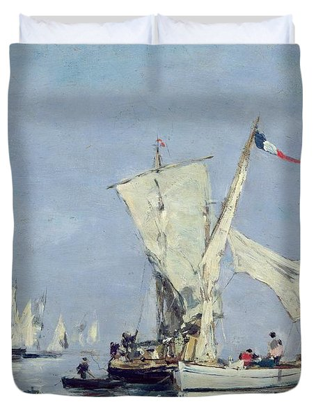 Sailing Boats Duvet Cover by Eugene Louis Boudin