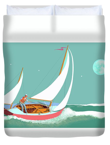 Moonlight Sail Duvet Cover