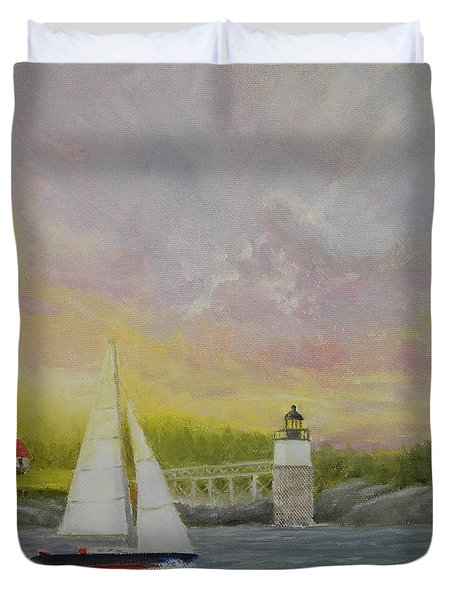 Sailing By Ram Island Duvet Cover