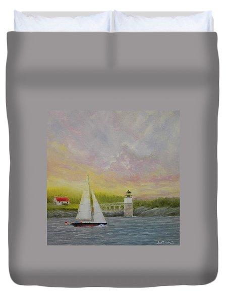 Sailing By Ram Island Duvet Cover