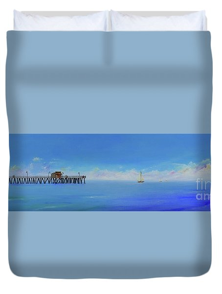 Duvet Cover featuring the painting Sailing By San Clemente by Mary Scott
