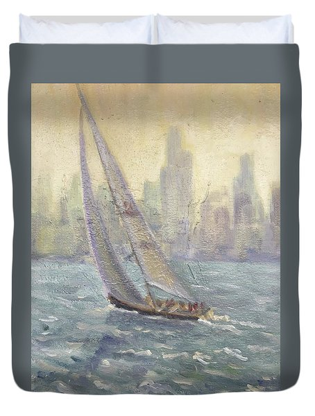 Sailing Chicago Duvet Cover