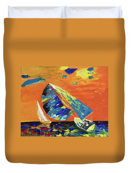 Duvet Cover featuring the painting Sailing by Donald Paczynski