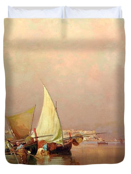 Sailing Fishermen Boats In Naples Duvet Cover