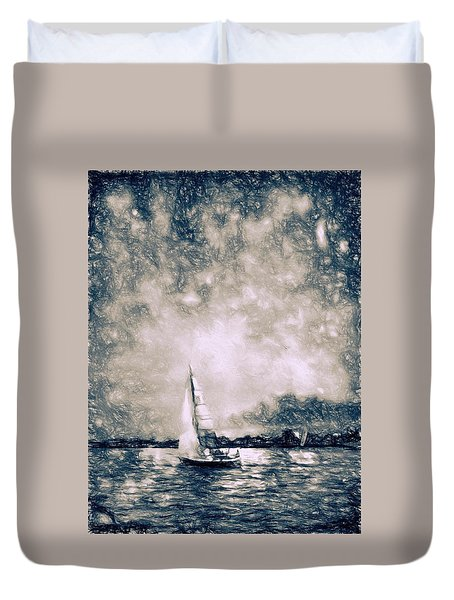Duvet Cover featuring the photograph Sailing Home by Kathy Bassett