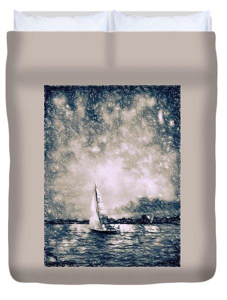 Sailing Home Duvet Cover by Kathy Bassett