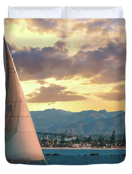 Sailing In San Diego Duvet Cover