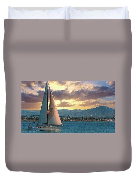Sailing In San Diego Duvet Cover
