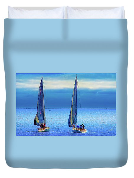 Sailing In The Blue Duvet Cover