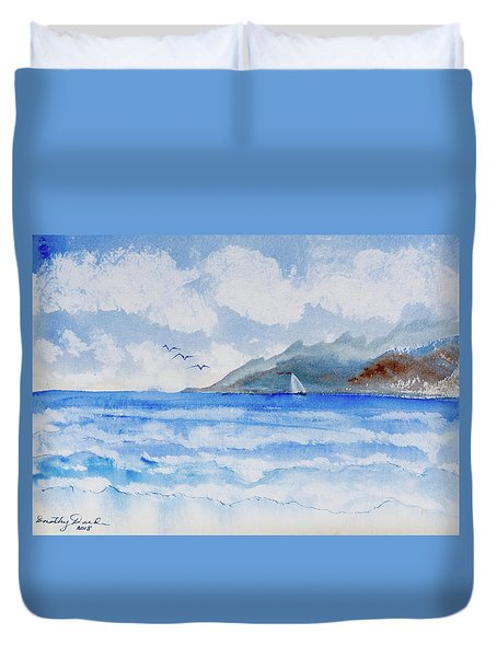 Sailing Into Moorea Duvet Cover