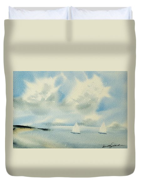 Sailing Into A Calm Anchorage Duvet Cover