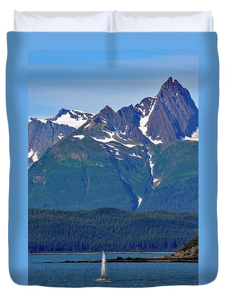 Duvet Cover featuring the photograph Sailing Lynn Canal by Cathy Mahnke