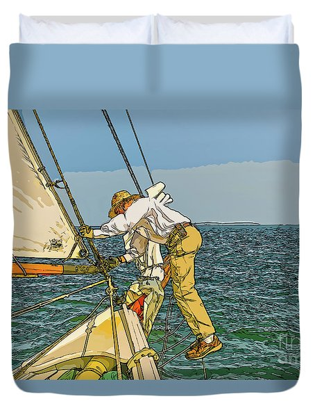 Sailing-not For Wimps-abstract Painting Duvet Cover