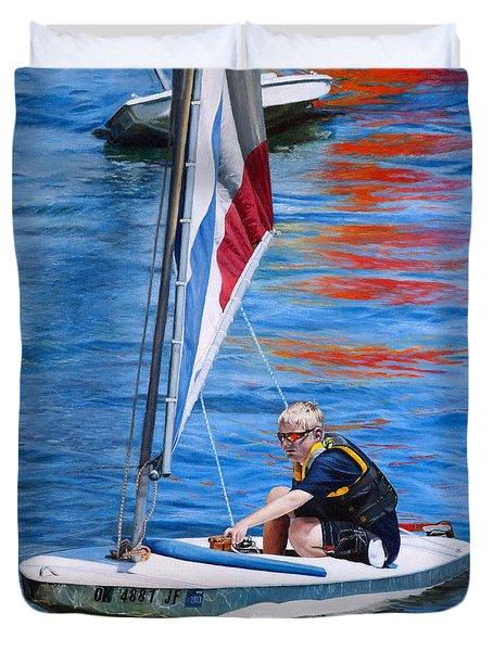 Sailing On Lake Thunderbird Duvet Cover by Joshua Martin