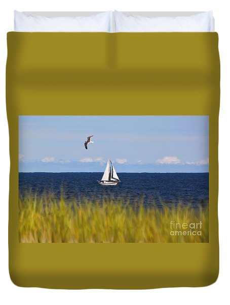 Sailing On Long Beach Island Duvet Cover