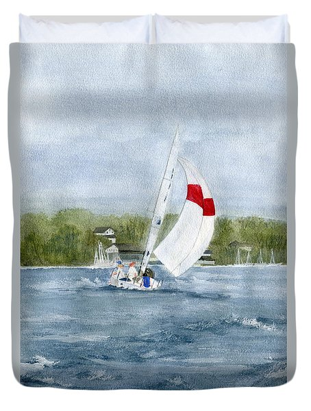 Duvet Cover featuring the painting Sailing On Niagara River by Melly Terpening