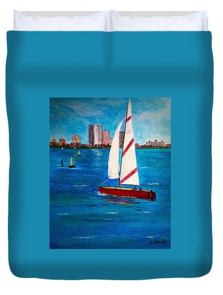 Sailing On The Charles Duvet Cover