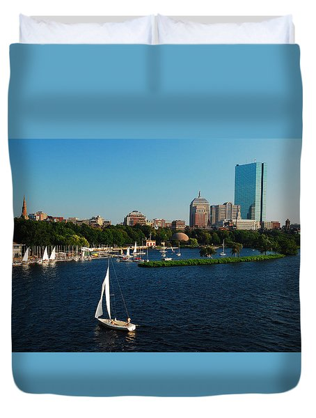 Duvet Cover featuring the photograph Sailing On The Charles by James Kirkikis