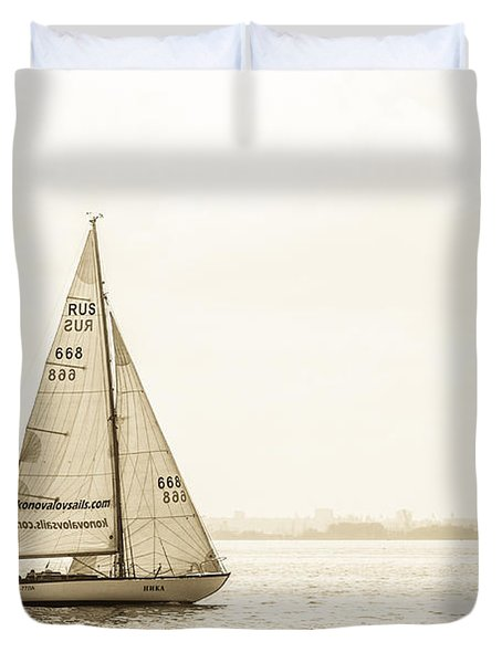 Sailing On The River Neva Duvet Cover