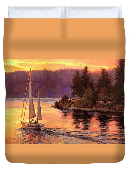 Sailing On The Sound Duvet Cover