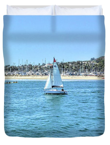 Sailing Out Of The Harbor Duvet Cover