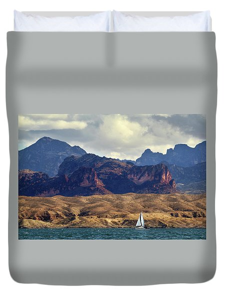 Sailing Past The Sleeping Dragon Duvet Cover