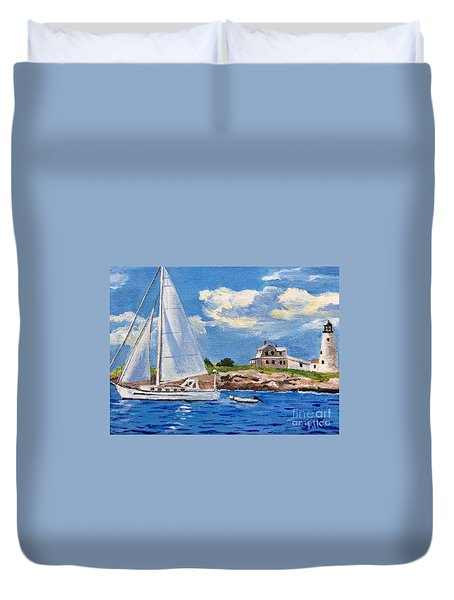 Sailing Past Wood Island Lighthouse Duvet Cover