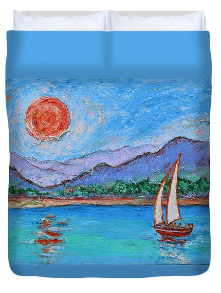 Duvet Cover featuring the painting Sailing Red Sun by Xueling Zou