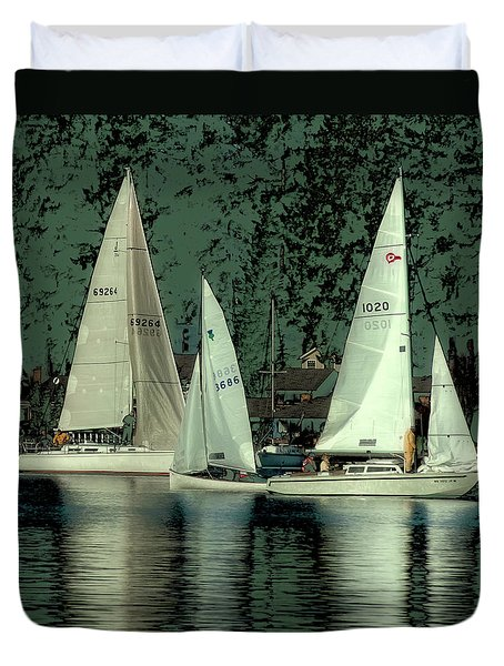 Duvet Cover featuring the photograph Sailing Reflections by David Patterson