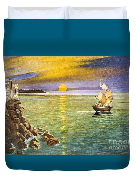 Sailing Ship And Castle Duvet Cover