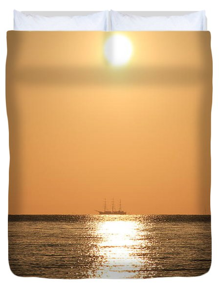 Sailing Ship In The Sunrise Duvet Cover